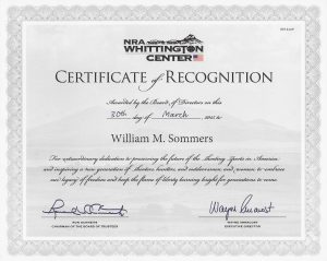 Bill Sommers - NRA Certificate of Recognition