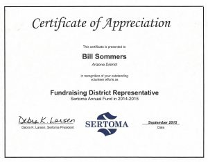 Bill Sommers - Sertoma Certificate of appreciation