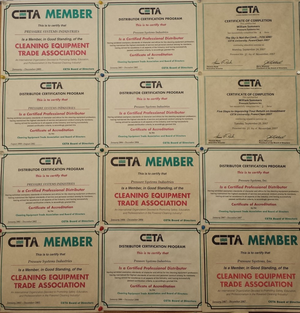 CETA certifications for Pressure Systems