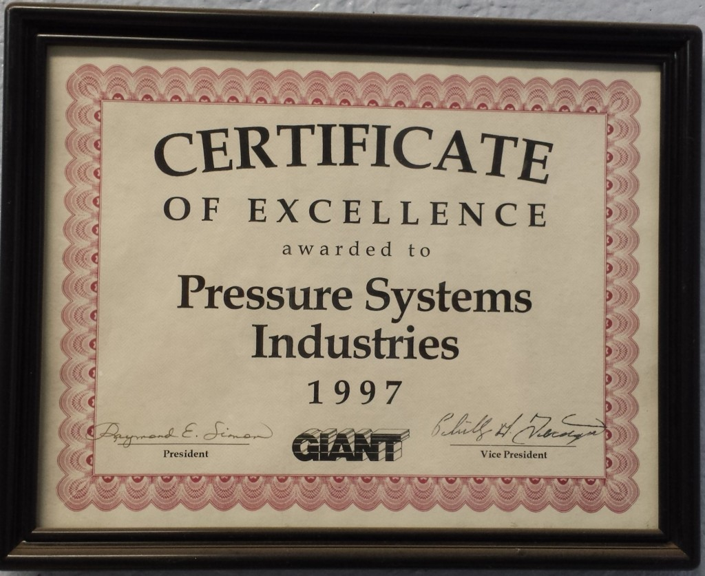 Pressure Systems Giant Certificate of excellence 1997