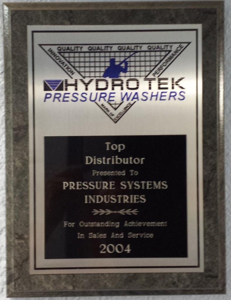 Pressure Systems- Hydro Tek Top Distributor of pressure washers 2004