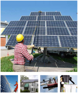 man cleaning pv panels